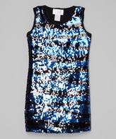 Dimples Blue Sequin Sheath Dress - Girls