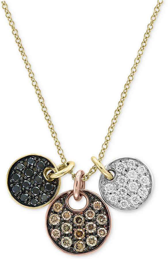Effy Confetti by Diamond Tri-Color Disc Pendant Necklace (5/8 ct. t.w.) in 14k Yellow, White & Rose Gold