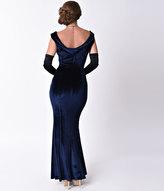 Unique Vintage 1930s Style Navy Blue Sleeveless Velvet Goldwyn Gown