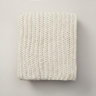 Oui Chunky Rib Knit Throw Antique Ivory