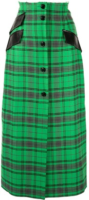 Yang Li Plaid Midi Skirt