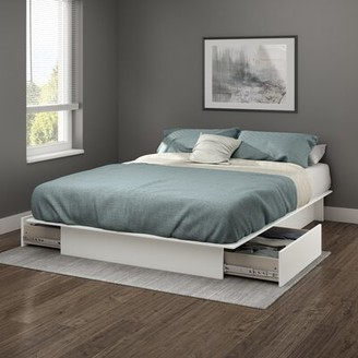 South Shore Step One Platform Bed with Storage Size: King, Finish: Pure White