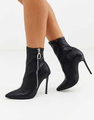 London Rebel pointed stiletto heeled boots in black