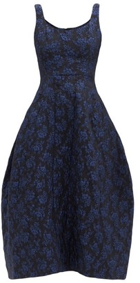 Simone Rocha Scoop-neck Floral-brocade Dress - Navy Print