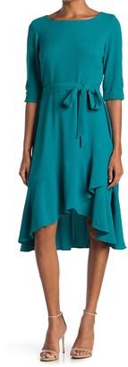 Gabby Skye Elbow Sleeve Tie Waist High/Low Midi Dress
