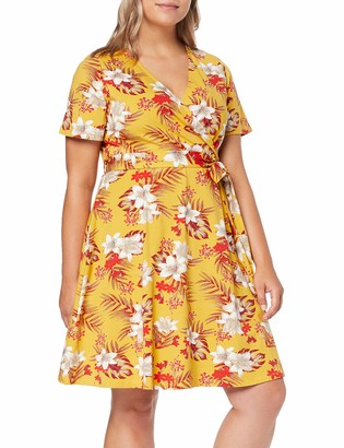 Dorothy Perkins Women's WRAP Printed Dress Ochre Floral Party