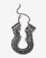 White House Black Market Hematite Rhinestone Choker Necklace
