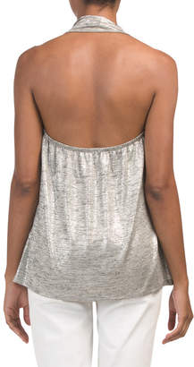 Made In Usa Drape Front Metallic Halter Top
