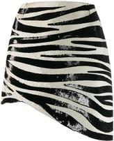 Saint Laurent zebra stripe sequin mini skirt