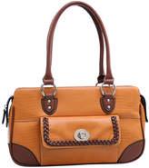 Dasein Brown & Tan Matte Croc-Embossed Shoulder Bag