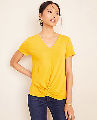 Ann Taylor Petite V-Neck Twist Front Tee