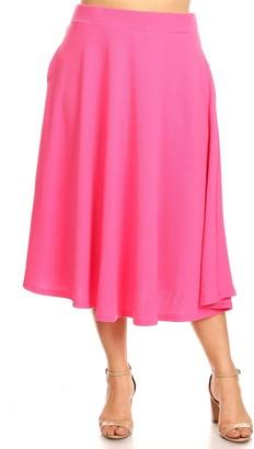 White Mark Plus Size Flare Midi Skirts