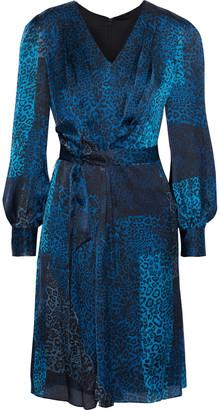 Elie Tahari Leah Belted Leopard-print Silk-satin Dress