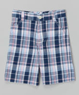 E-Land Kids Pink & Navy Plaid Shorts - Boys
