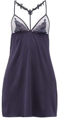 Fleur of England Midnight Lace-trimmed Silk-blend Satin Slip Dress - Womens - Navy