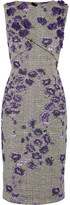 Jason Wu Floral-appliquéd Cotton-blend Jacquard Dress - Purple