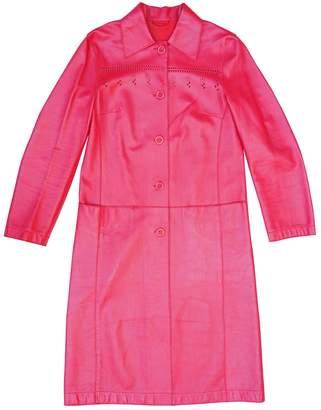 Philosophy di Alberta Ferretti Red Leather Coat for Women