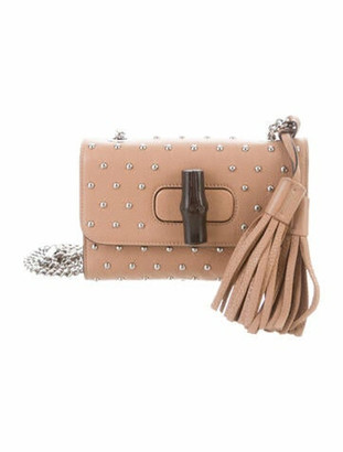 Gucci Miss Bamboo Studded Shoulder Bag Nude