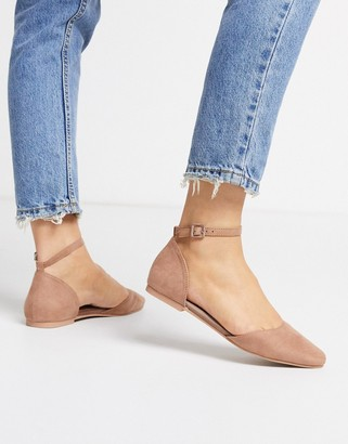 Asos DESIGN Lint ballet flats in taupe