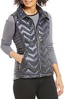 Calvin Klein Chevron Quilted Down-Filled Mock Neck Vest