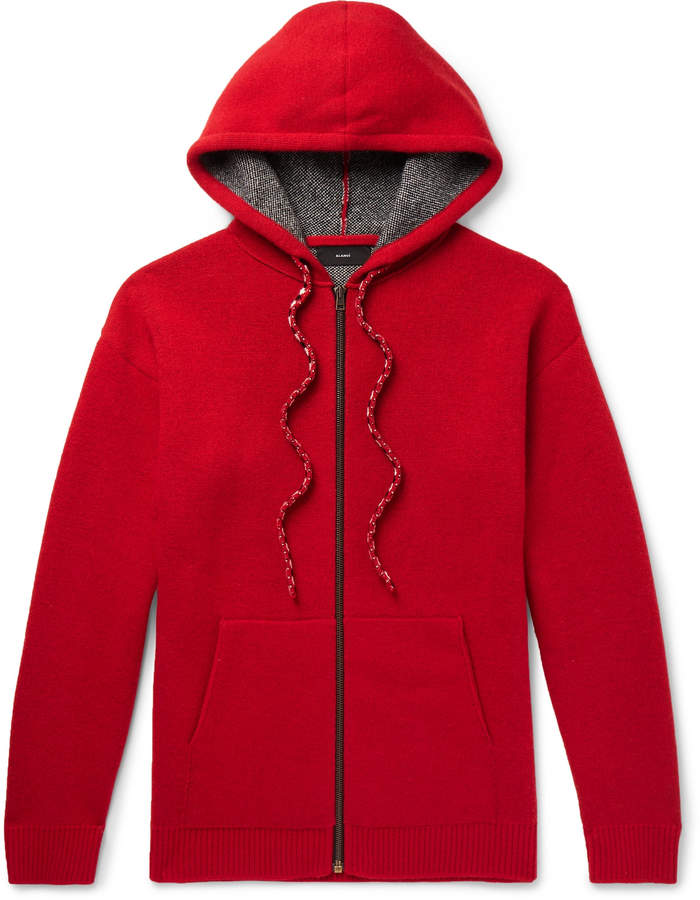 Alanui Bandana-Intarsia Wool and Cashmere-Blend Zip-Up Hoodie - Men - Red