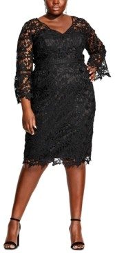 City Chic Plus Size Lace Sheath Dress