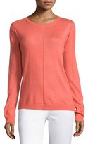 Halston Long Sleeve Draped Back Sweater, Melon