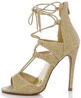 Quiz Gold Shimmer Lace Up Sandals