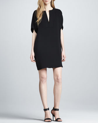 Vince Split-Neck Silk Dress