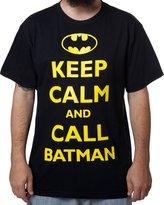Bioworld Men's Keep Calm and Call Batman T-Shirt - 2X-Large Tall, Black