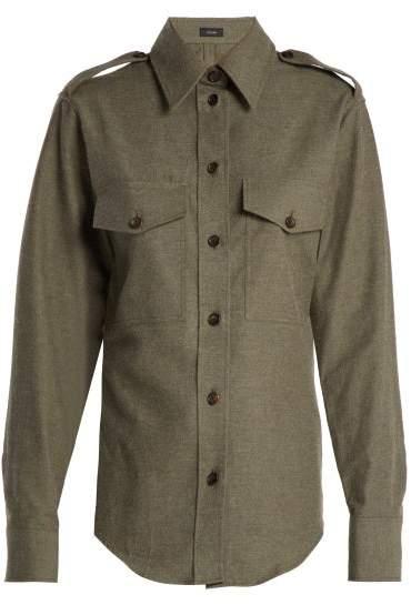 Joseph Rainer Cotton Shirt - Womens - Dark Green