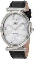 Burgi Women's BU39BK Oval Case Swiss Quartz Diamond Classic Stainless Steel Watch