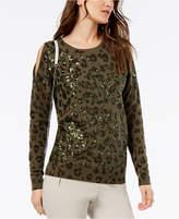 INC International Concepts I.n.c. Cold-Shoulder Sequin-Embellished Sweater, Created for Macy's