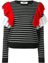 MSGM ruffle striped jumper - women - Cotton/Polyester/Viscose - XS