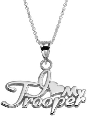 """Insignia Collection Sterling Silver """"I Love My Trooper"""" Pendant Necklace"""