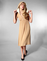 Hooded Buttons Dress in Tan