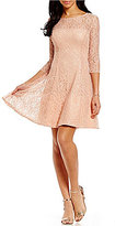 S.L. Fashions Round Neck 3/4 Sleeve Sequined Lace Fit-and-Flare Dress