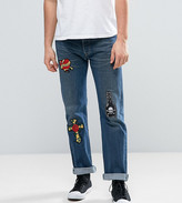 Reclaimed Vintage Revived X Romeo & Juliet Levi 501 Jeans In Blue With Patches