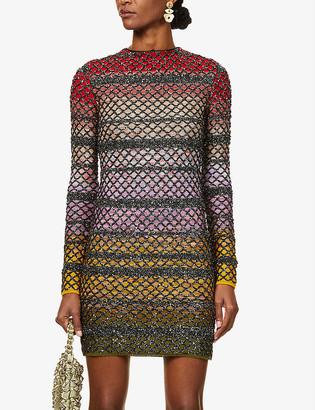 Missoni Diamond-pattern glittered silk-blend mini dress