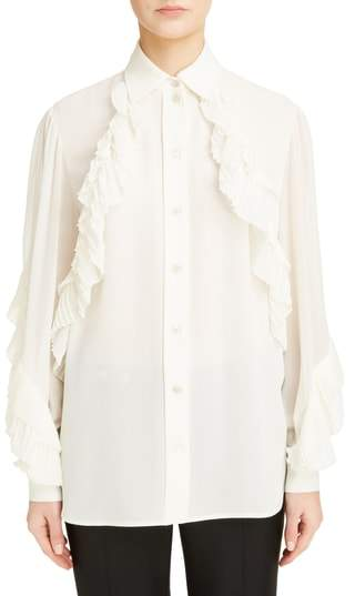 Givenchy Pleated Ruffle Silk Blend Georgette Blouse