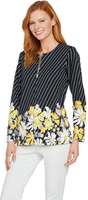 Bob Mackie Diagonal Stripe Multi-Floral Ponte Knit Jacket