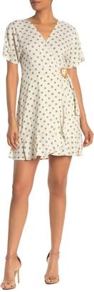 J.o.a. Short Sleeve Polka Dot Mini Dress