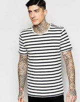 Minimum T-Shirt With Breton Stripe In White
