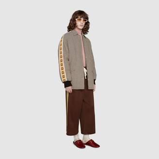 Gucci Houndstooth jacket with Interlocking G stripe