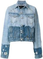 R 13 contrast distressed denim jacket