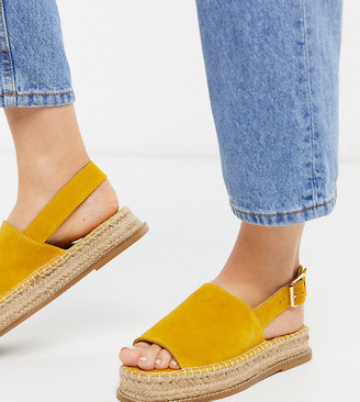 ASOS DESIGN Wide Fit Hannah suede flatform espadrilles in yellow
