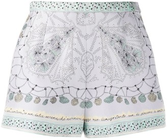 Emilio Pucci Beach Print Mini Silk Shorts
