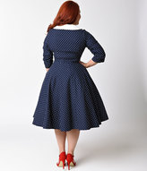 Unique Vintage Plus Size 1950s Navy & White Dotted Sleeved Eva Marie Swing Dress