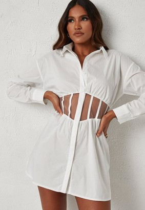 Missguided Dani Michelle X White Mesh Insert Corset Mini Dress