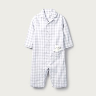 The White Company Gingham Sleepsuit with Toy, Grey, Newborn